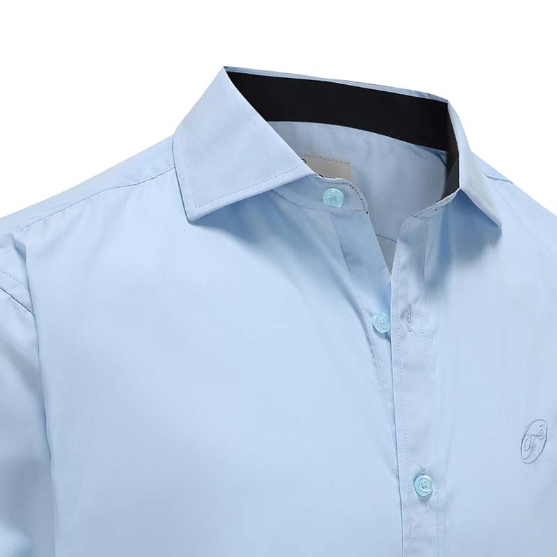 Overhemd heren lichtblauw met donkere kraag en manchet Ollies Fashion