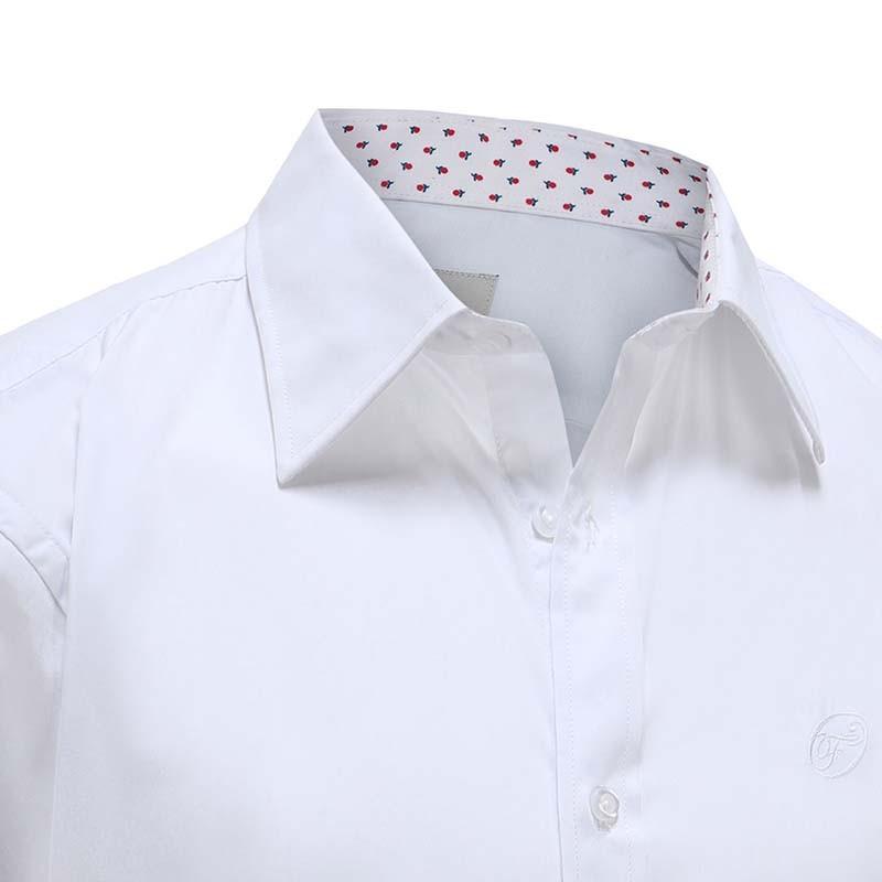 Overhemd heren wit met klassieke boord Ollies Fashion
