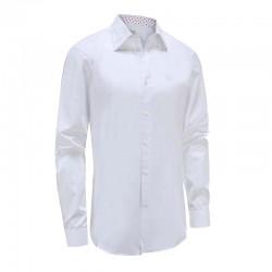 Chemise homme blanche avec garniture blanche rouge ludique Ollies Fashion