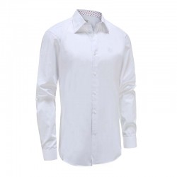Overhemd heren wit met speelse rood witte trim Ollies Fashion