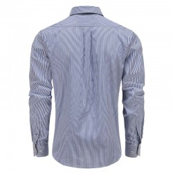 Men's shirt white blue stripe, with round back