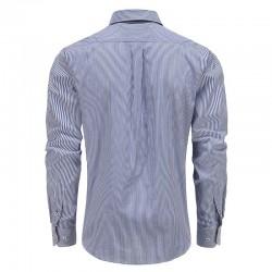 Men's shirt white blue stripe, with round back