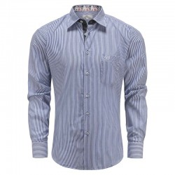 Chemise homme à rayures blanches bleues Ollies Fashion