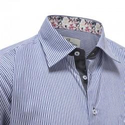 Blaues weißes streifenhemd der männer Ollies Fashion