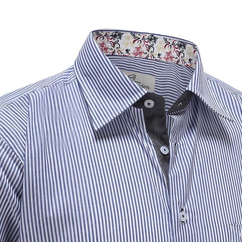 Overhemd heren blauw wit streep Ollies Fashion