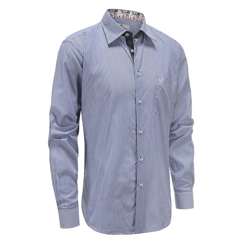 Men's shirt blue white stripe loose fit Ollies Fashion