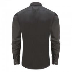 Overhemd heren zwart, roze boord, met ronde achterpand