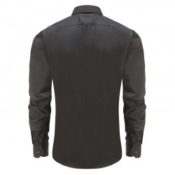 Shirt Männer schwarz, rosa Kragen, runder Rücken