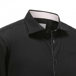 Overhemd heren zwart met roze trim Ollies Fashion