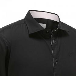 Herrenhemd schwarz mit pinkem besatz Ollies Fashion
