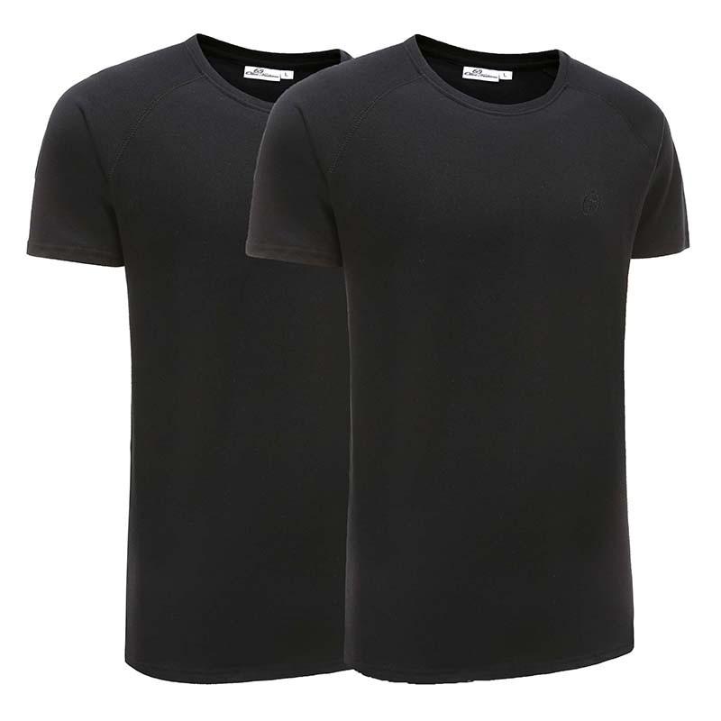 T-shirt herren basic schwarz 2er set Ollies Fashion