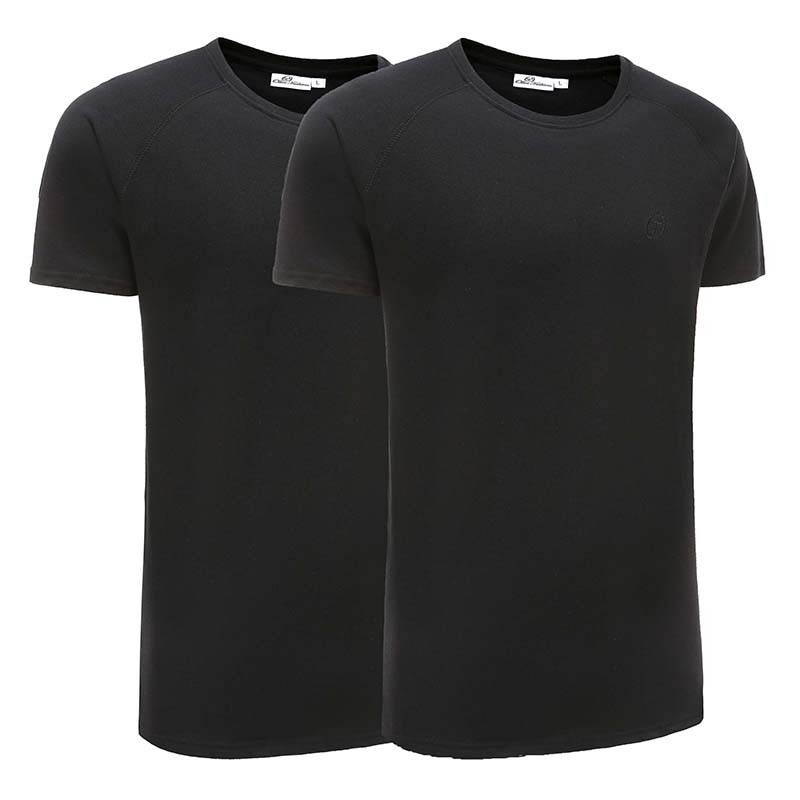 T-shirt homme basique noir lot de 2 Ollies Fashion