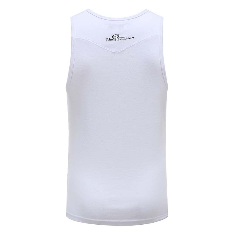 Débardeur blanc hommes avec logo brodé Ollies Fashion