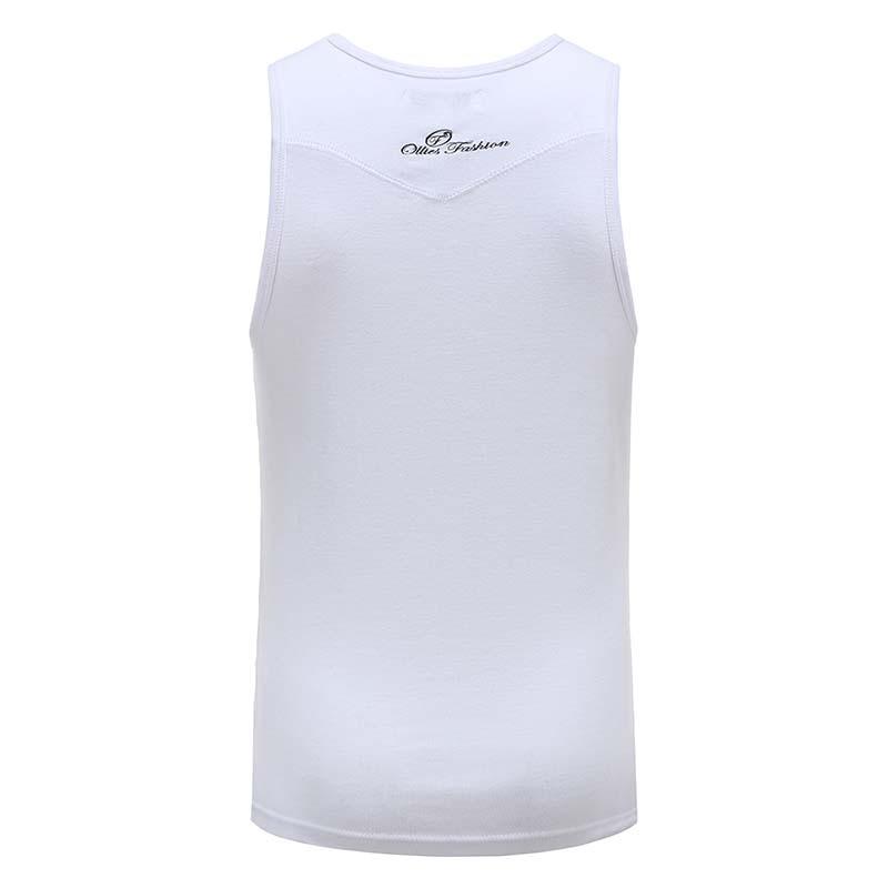 Tank top singlet men's white with logo embroidery Ollies Fashion