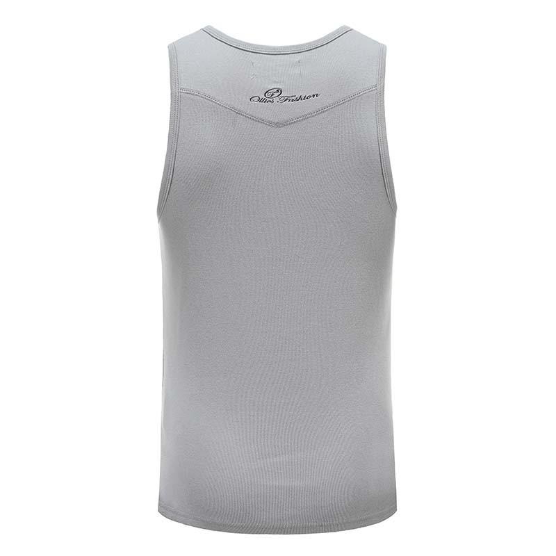 Tank top Shirt graue Männer mit Stickerei Ollies Fashion