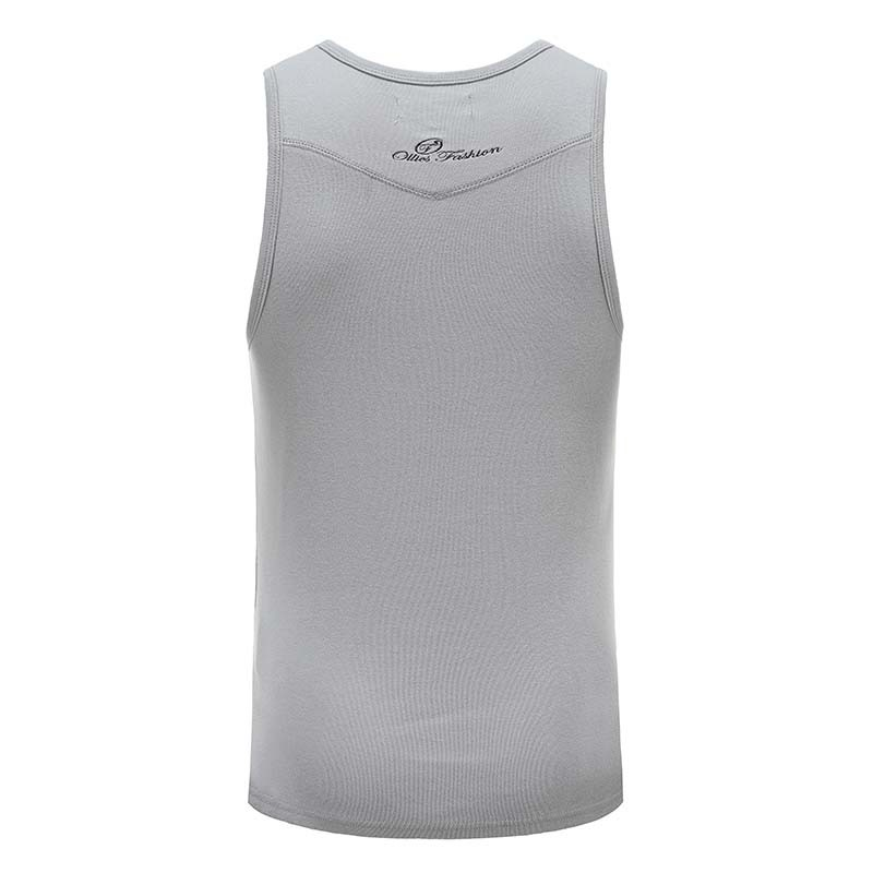 Tank top shirt gray men with embroidery Ollies Fashion