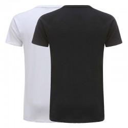 Shirt hommes noirs de base et coton blanc jersey 220 g Lot de 2