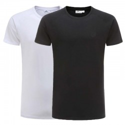 T-shirt zwart, wit basic set reglan katoen Ollies Fashion