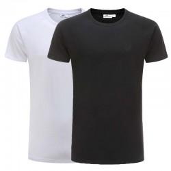 T-shirt noir, coton set reglan base blanc Ollies Fashion