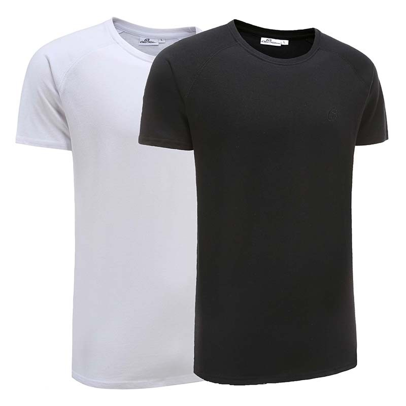 Tshirt heren basic zwart / wit set Ollies Fashion