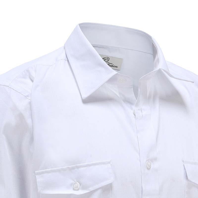Shirt Men bamboo linen white with pocket