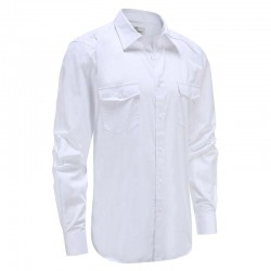 Shirt mens bamboo linen white with chest pocket, loose fit Ollies Fashion