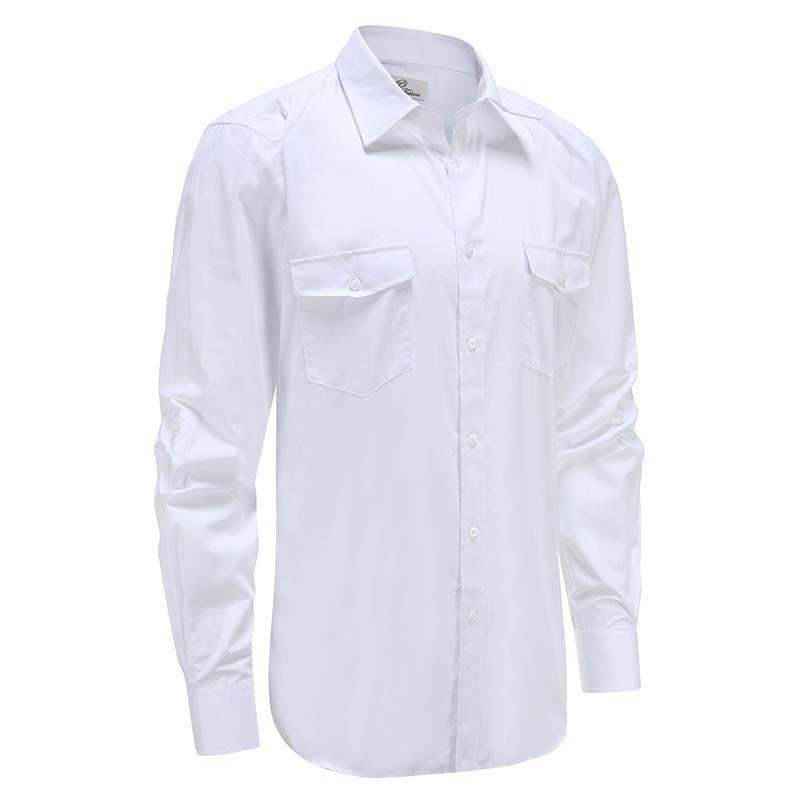 Hemd mens bambus leinen weiß mit brusttasche, lockere passform Ollies Fashion