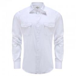 Chemise homme en lin bambou blanc Ollies Fashion