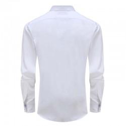 Overhemd heren bamboe wit met rond onderpand