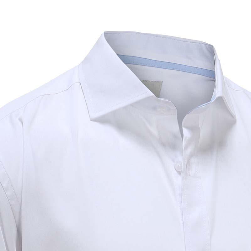 Overhemd heren bamboe wit met blauwe bies Ollies Fashion
