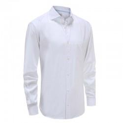 Overhemd heren bamboe wit met hoekige manchet Ollies Fashion