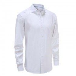 Men's white shirt with angular cuff Ollies Fashion