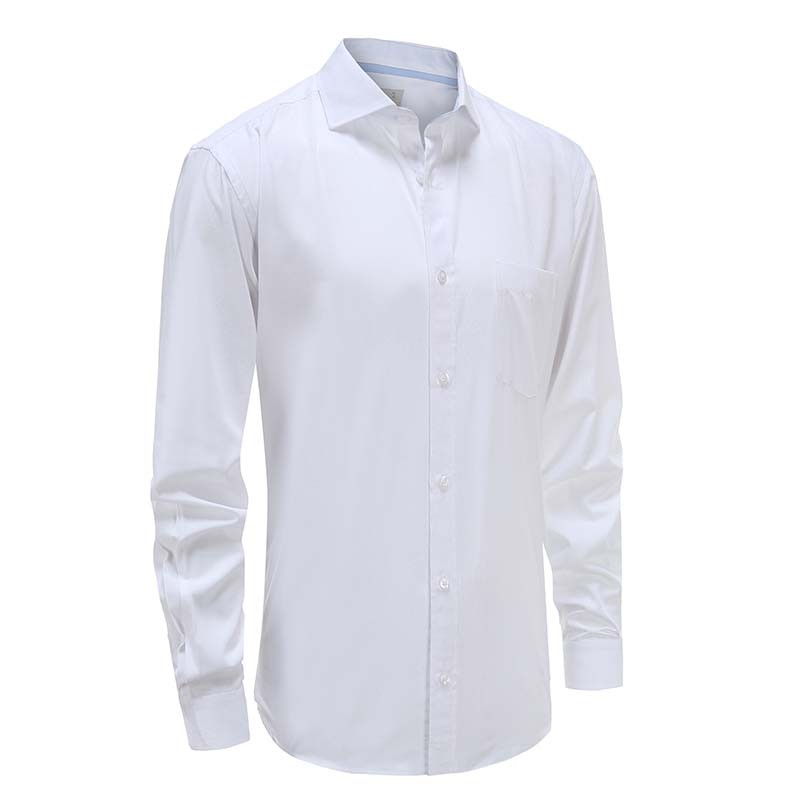 Men's white shirt with angular cuff Ollies Fashion