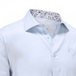 Overhemd heren lichtblauw poplin bloemetjes kraag Ollies Fashion