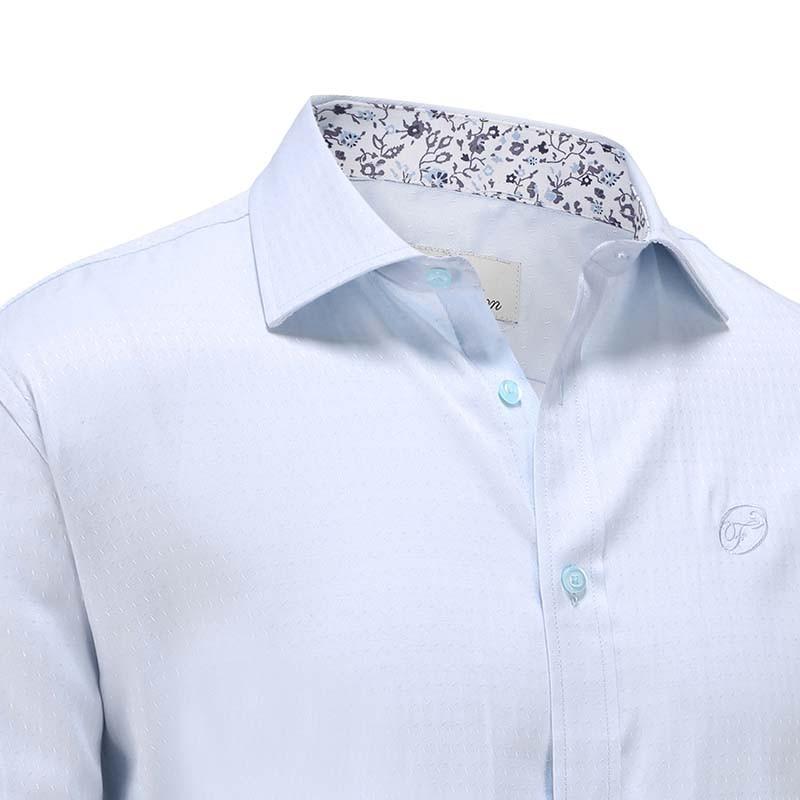 Chemise homme col de fleurs en popeline bleu clair Ollies Fashion