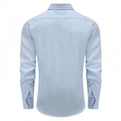 Overhemd heren bamboe blauw met borstzak Ollies Fashion
