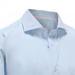 Overhemd heren bamboe met borstzak blauw met roze trim