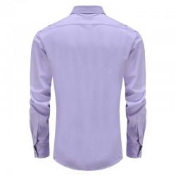 Overhemd heren paars met rond achterpand