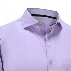 Overhemd met borstzak, bamboe paars met zwarte trim