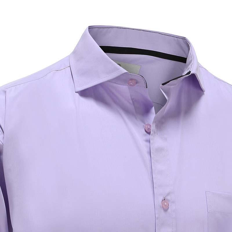 Chemise avec poche poitrine, bambou violet avec garniture noire