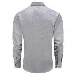 Overhemd grijs gemeleerd tailor fit ronde hem
