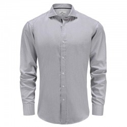 Men's shirt bamboo gray white, tailor fit | Ollies Fashion