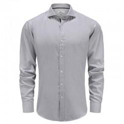 Herren hemd bambus grau weiß, tailliert geschnitten Ollies Fashion