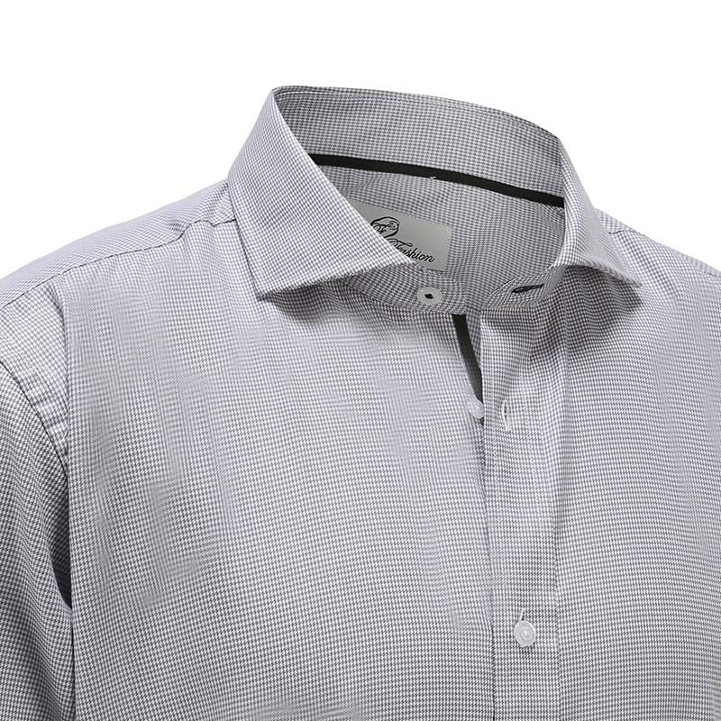 Men's shirt bamboo gray white poplin Ollies Fashion