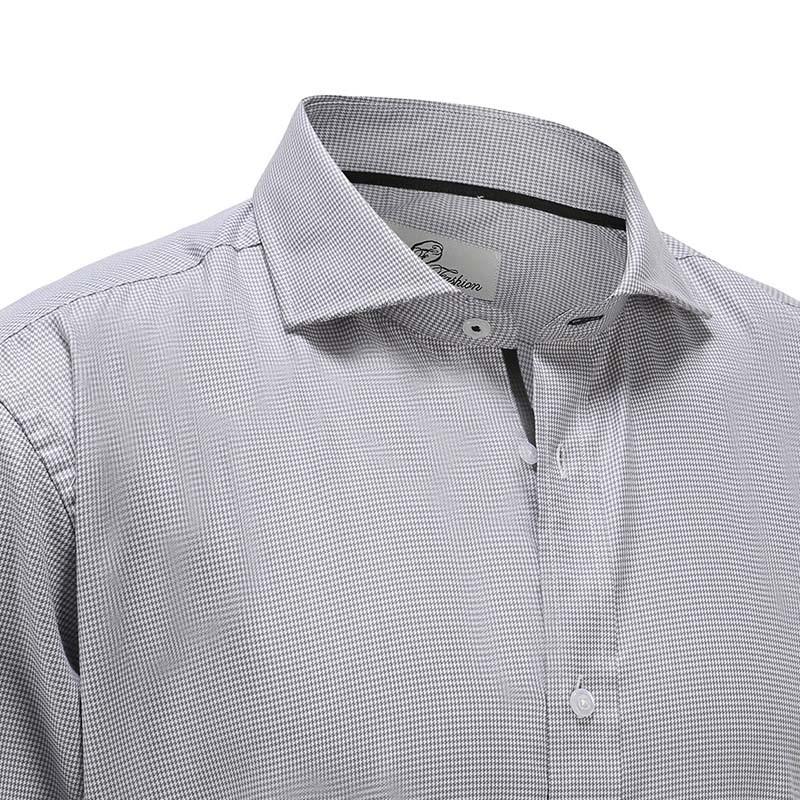 Overhemd heren bamboe grijs wit poplin Ollies Fashion
