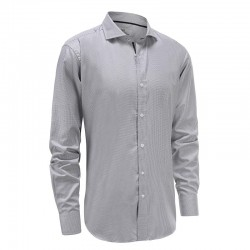 Men's shirt bamboo gray white with black trim Ollies Fashion