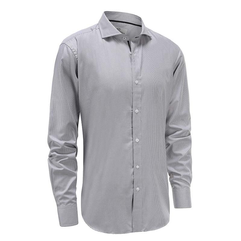 Overhemd heren bamboe grijs wit met zwarte trim Ollies Fashion