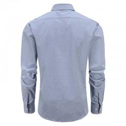 Overhemd heren blauw geblokt tailor fit ronde hem