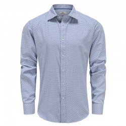 Overhemd heren lange mouw, blauw wit geblokt