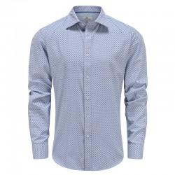 Männer Langarm Shirt, blau und weiß kariert